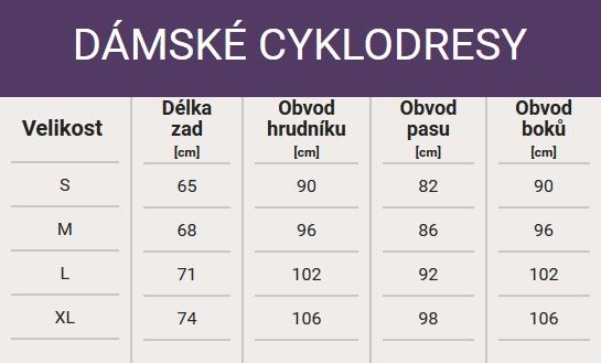 Tabulka velikostí - Dámské cyklodresy