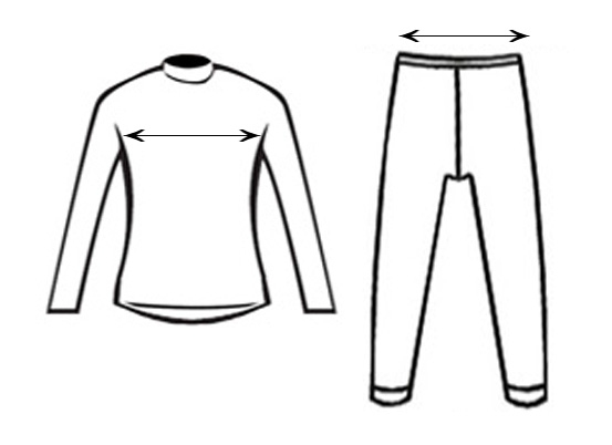 Size chart - woman's thermal clothes