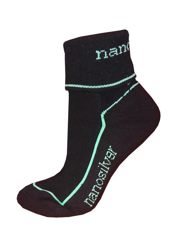 13901d4d144 Sportovní ohrnovací ponožky se stříbrem nanosilver. bílé. šedé. černé. černá  tyrkys